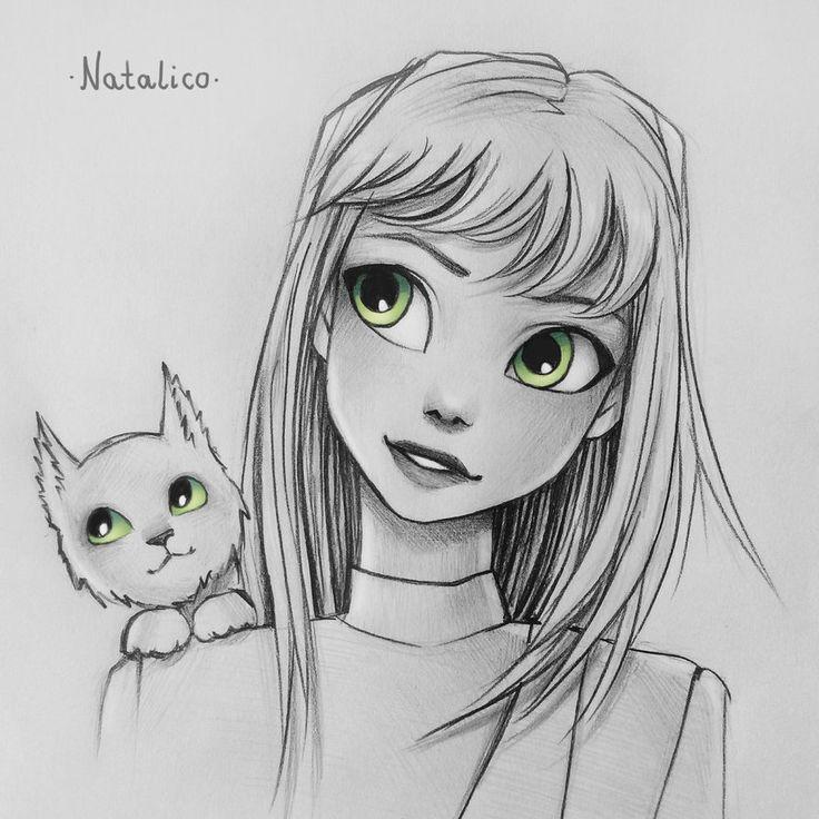 Cat on shoulder by natalico