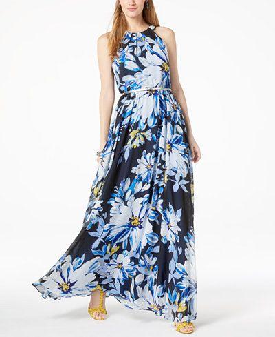 a34bc2f38d I.N.C. Petite Floral-Print Halter Maxi Dress
