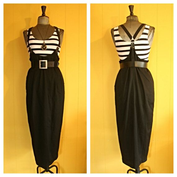 Vintage High-waisted, Black, Maxi Skirt with Suspenders, size Medium
