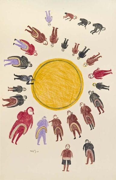 Inuit Art | Winnipeg Art Gallery    Luke Anguhadluq  Canadian, 1895–1982  Drum Dance, 1970  coloured pencil, graphite on paper, T/P 1/2  102 x 65.8 cm    Collection of the Winnipeg Art Gallery; Gift of George Swinton in honour of Dr. Ferdinand Eckhardt on the occasion of the 70th anniversary of the Winnipeg Art Gallery    G-83-107