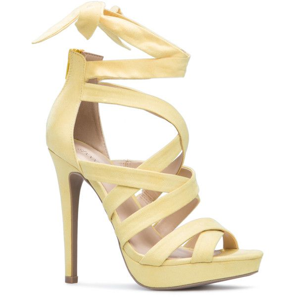 ShoeDazzle Sandals-Dressy - Single Sole Gizel Womens Yellow ❤ liked on Polyvore featuring shoes, sandals, sandals-dressy - single sole, yellow, fancy shoes, laced sandals, party sandals, lace up shoes and laced shoes