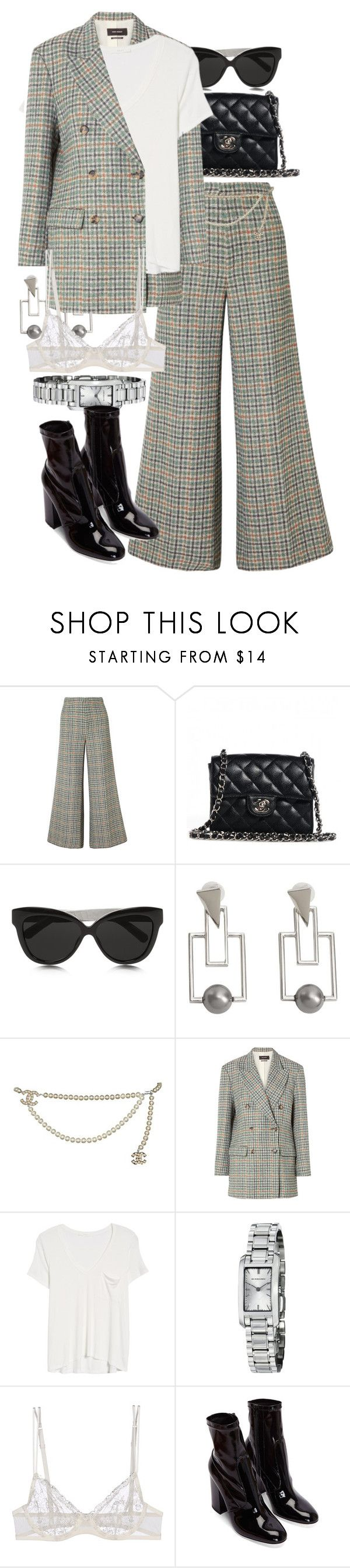 """""""Untitled #11477"""" by nikka-phillips ❤ liked on Polyvore featuring Isabel Marant, Chanel, Linda Farrow, MANGO, Lush, Burberry and La Perla"""