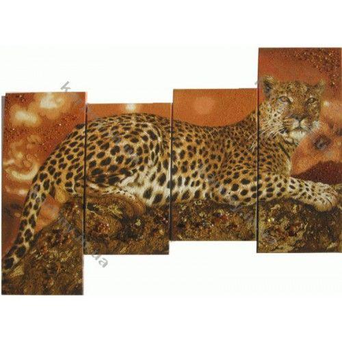 Купить Модульные картины из янтаря Леопард на дереве: цена, фото, на заказ