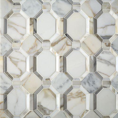 ARTISTIC TILE  Piatti Calacatta Gold Polished Dimensional Mosaic