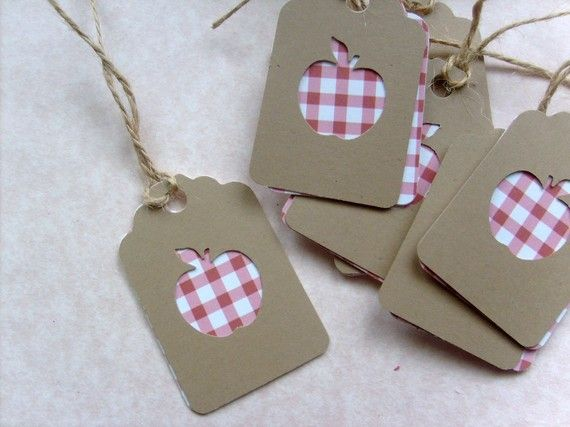 Tags for Teacher... Red Checkered cardstock with Apple punch Kraft paper Small Gift tags...Qty.12, Wedding favors, blank on back