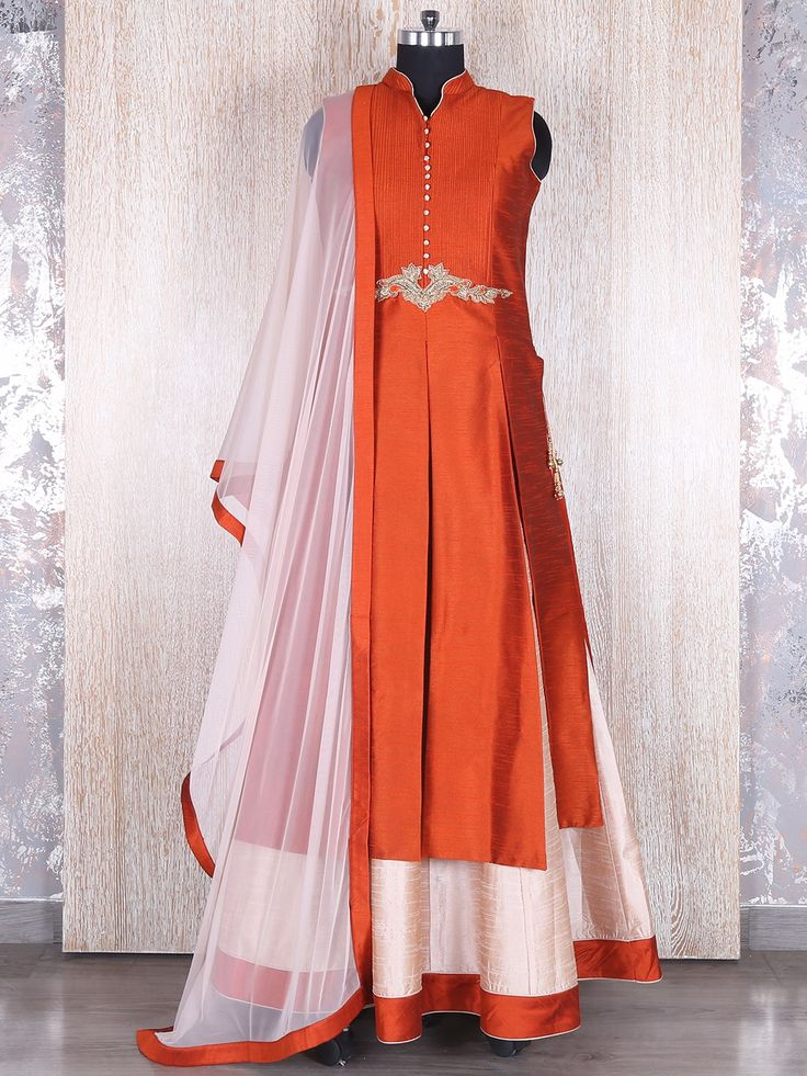 Orange Silk Indo Western Style Salwar Suit