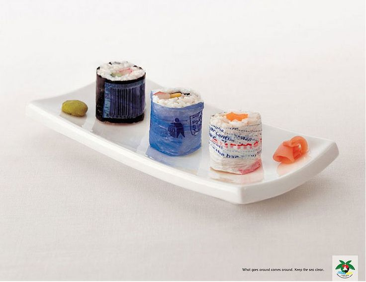 Creative Advertising - What goes around, comes around. Keep the sea clean.