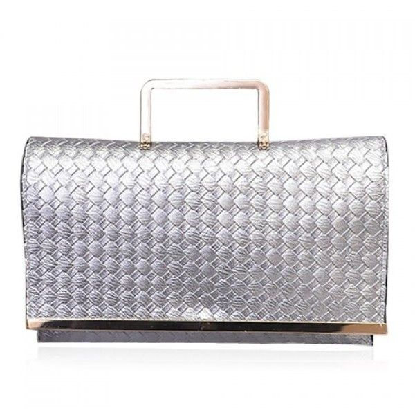 Fashionable Metal and PU Leather Design Clutch Bag For Women Silver ($23) ❤ liked on Polyvore featuring bags, handbags, clutches, silver handbags, silver metal purse, metal purse, pu leather handbags and silver clutches