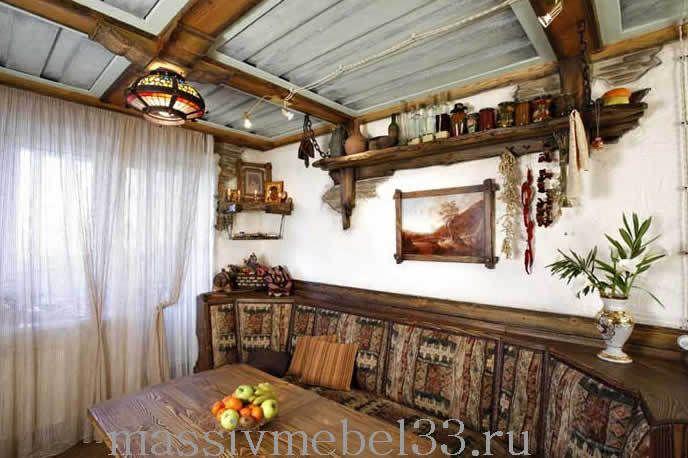 Мебель на заказ в Москве из сосны,дуба:Кухни из массива дерева под старину