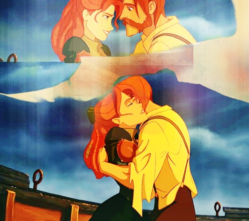 Tarzan's parents. (AKA, Jack and Rose. I mean, HER HAIR. AND HIS OUTFIT.)