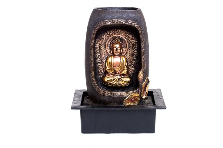 MEDITATION BUDDHA INDOOR FOUNTAIN BY ZENINFLUX Polyresin Water Fountain With Lighting System- Electric Pump- Easy Installation- Relaxing & Calming- Soothing & Ambient Effect Size : L31xW23xH40 cm