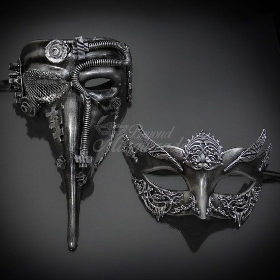 His & Hers Steampunk Mask Set Silver Masquerade Mask for
