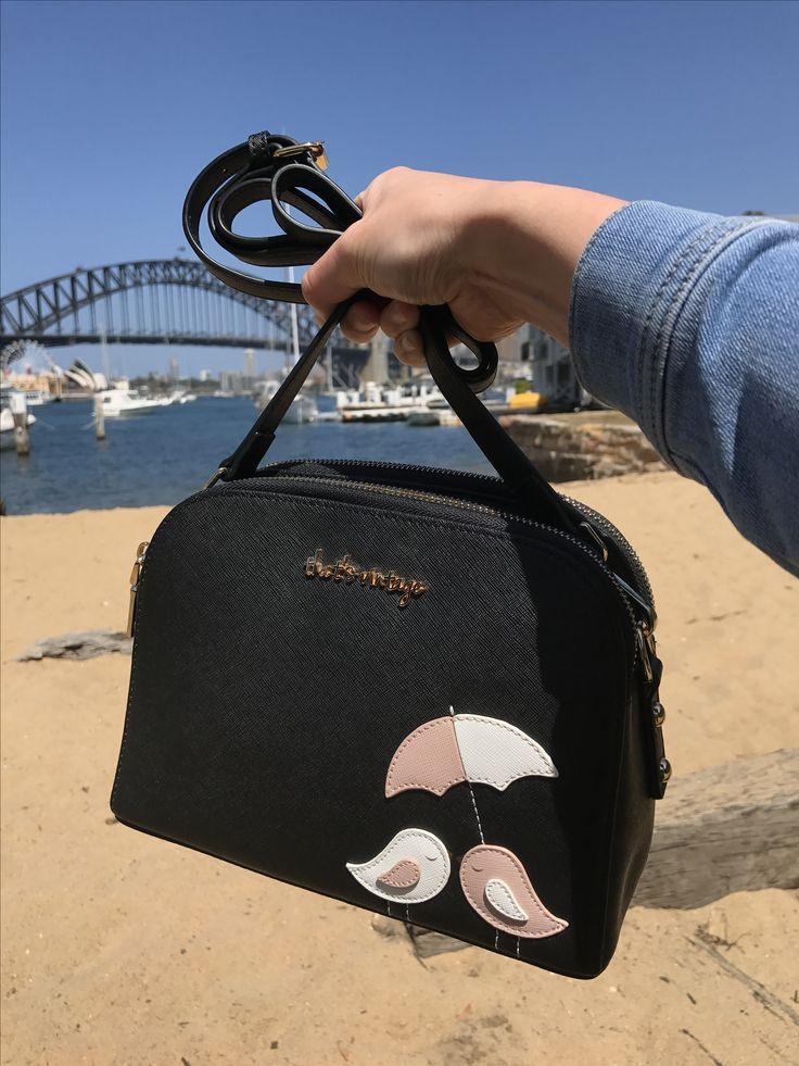 Handbag, black bag, crossbody, bird handbag