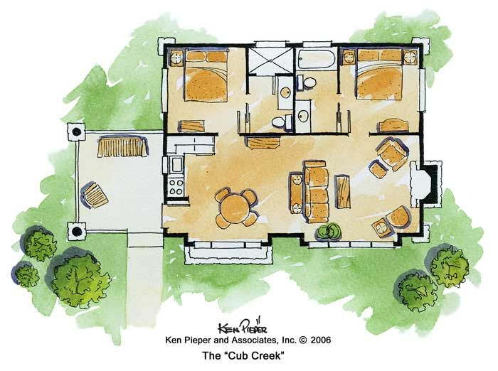 A different idea to work with. As is - 681 sq. ft. 2 bedroom house on one floor.