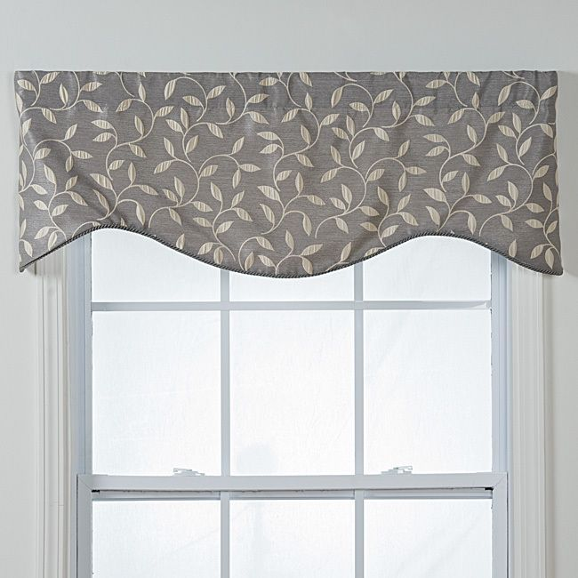 Contemporary Kitchen Curtains And Valances: Kensington Shaped Grey Vines Window Valance