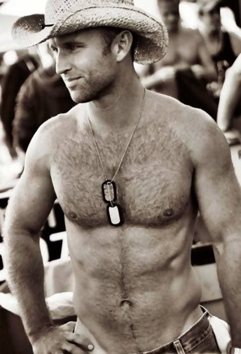 Sexy men with hairy chest