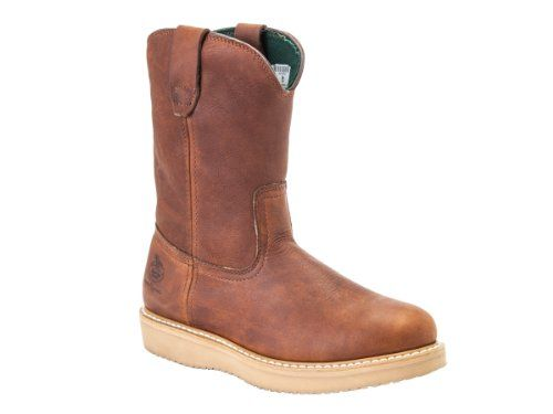 Georgia Boot Men's 12 Wedge Wellington Work M Full grain barracuda gold  leather molds to the foot.