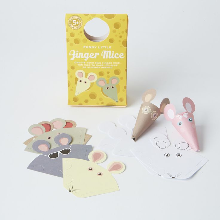 Create your very own super cute little finger mice. 10 mice in a pack, 6 coloured/printed mice, 2 mice that you can colour in and 2 blank mice. Age 3+