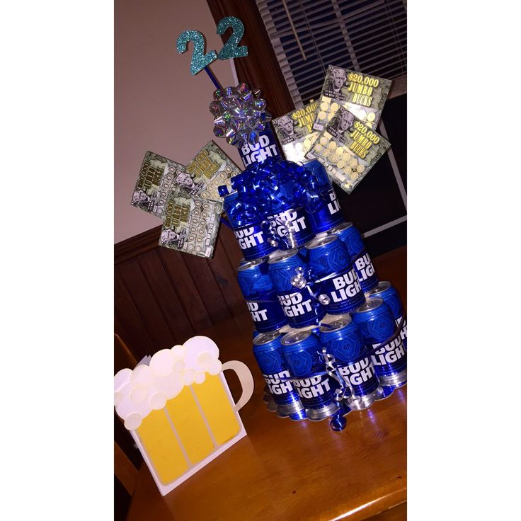 Bud Light beer cake #beer #cake #cans #diy #birthday #boyfriend #husband #bud #light #blue #tickets #scratch