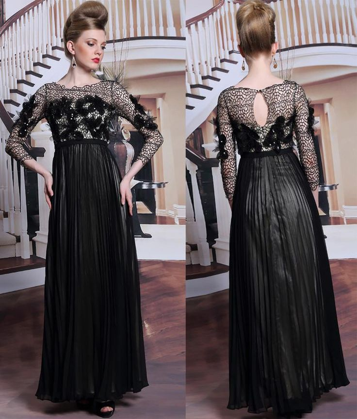 Occasion Dresses Evening Dresses Long Sleeves Bateau Black Ruffle Silk Chiffon Dresses Party Evening With Lace Appliques On Bodice And Sleeves,Long Skirts Petite Occasion Dresses From Gonewithwind, $91.1| Dhgate.Com