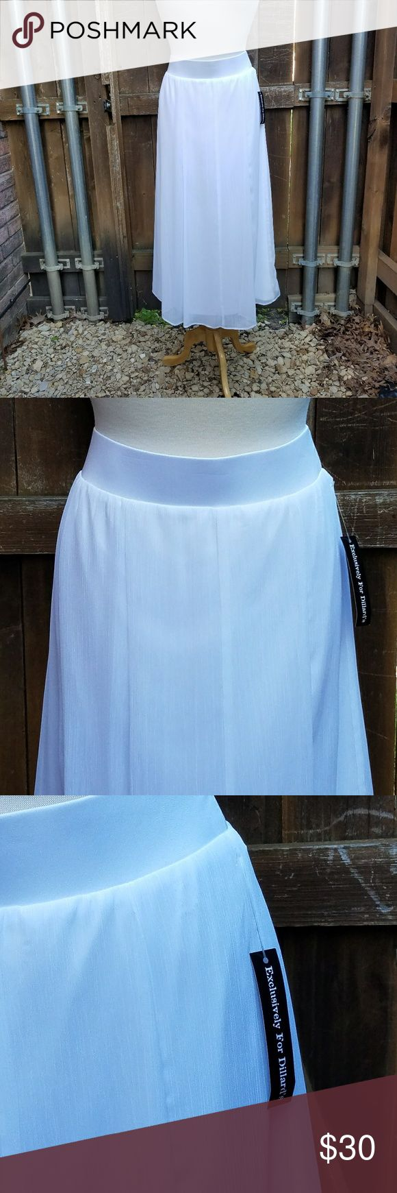 NWT Ruby Rd White Chiffon Pull On Long Skirt 1X Size 1X  White Chiffon Lined Skirt Elastic Waistband 100% Polyester  Measurements Waist is 40 inches unstretched Length of skirt is 34 inches Ruby Rd Skirts