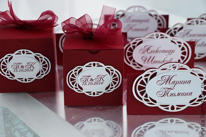"""Купить """"Бордо"""" бонбоньерка - бордовый, белый, бонбоньерка, свадьба, свадебные аксессуары, свадебный декор"""