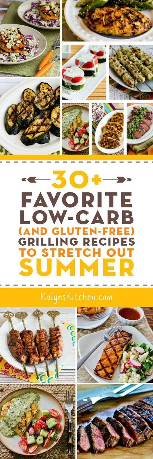 There's still plenty of grilling weather left even if summer is winding down, so here are my 30+ Favorite Low-Carb Grilling Recipes to Stretch Out Summer! [found on KalynsKitchen.com.]