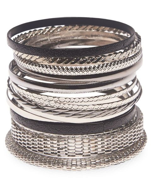 "<p>Set of 15 bangles includes two thick mesh bracelets, along with solid metal, textured metal, and braided metal bangles.</p>  <ul> 	<li>2.75"" Diameter</li> 	<li>Metal / Man Made Materials</li> 	<li>Imported</li> </ul>"