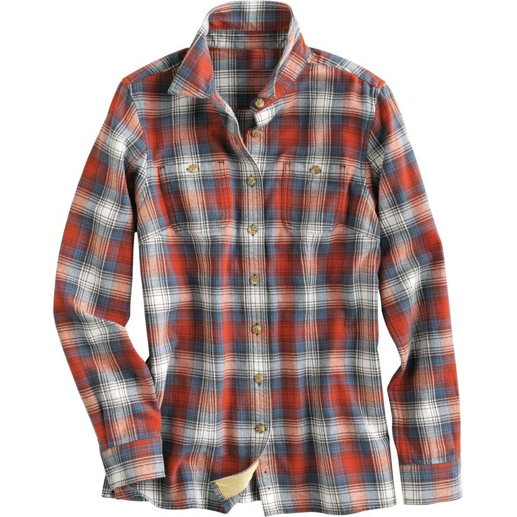 Women 39 s flannel shirt duluth trading cayenne plaid too for Womens plaid flannel shirts