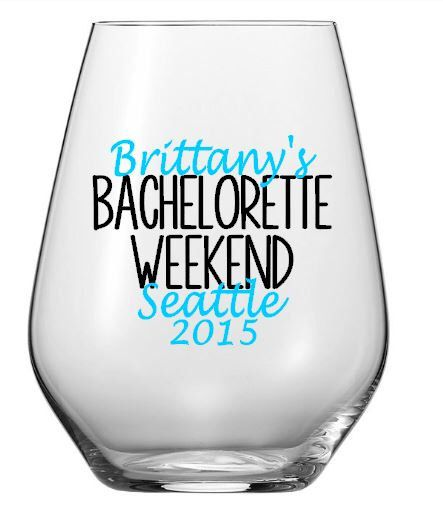 $1.75 Personalized Bachelorette Weekend Wine Glass, Custom Location Wedding Party Plastic Tumbler Decal Set, Cups NOT Included by SaidInStoneOnline on Etsy https://www.etsy.com/listing/230275964/personalized-bachelorette-weekend-wine