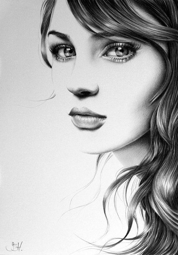Lápiz de dibujo a mano impresión Fine Art retrato por IleanaHunter
