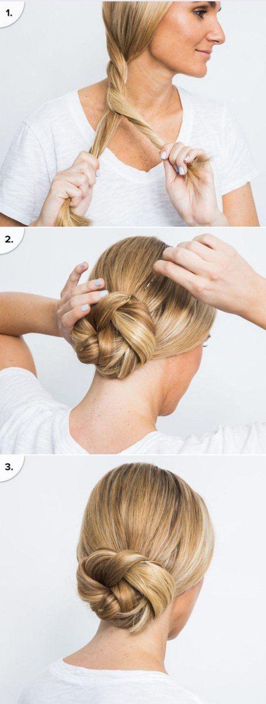 Chignon Coiffé Décoiffé Facile dedans les 25 meilleures idées de la catégorie coiffure rapide sur