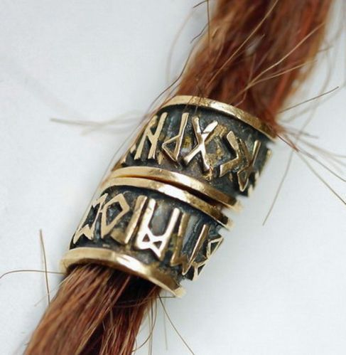 Bartcreole Bartperle Bartschmuck Bronze Runen Futhark D7mm und 50 Bartgummis | eBay