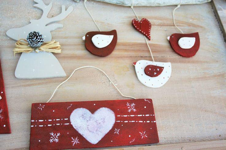 targhette e uccellini legno Natale