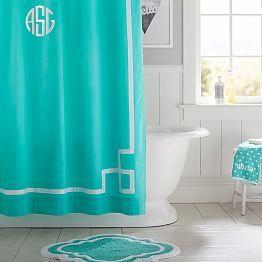 Emma Ribbon Trim Shower Curtain, Pool