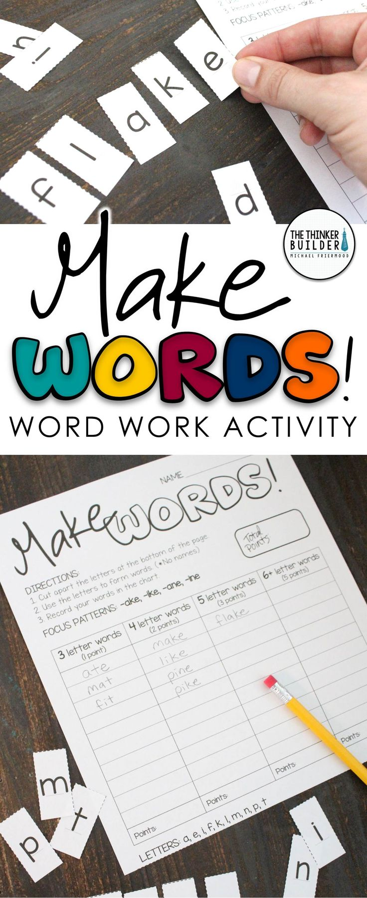 "An engaging, hands-on word work activity! Students ""make words"" by cutting apart and rearranging letters. 28 activity sheets included, each with focus spelling patterns. Gr 2-4 ($)"