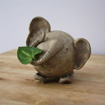 Ceramic Elephant- Handmade Clay elephant- Elephant Figurine- Animal- Whimsical Art- Elephant Sculpture with Sgraffito Design