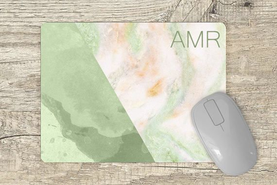 marble mousepad monogrammed  green watercolor