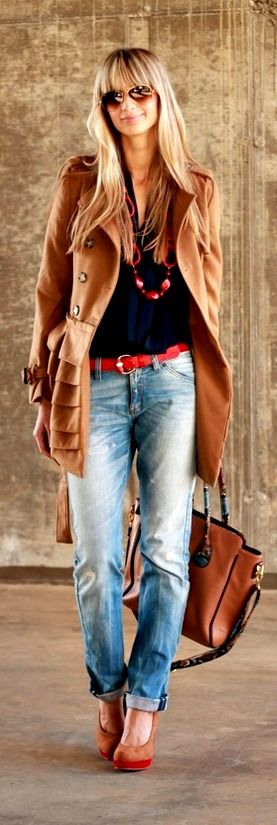 ❤  distressed boyfriend fit jeans cuffed and worn with ultra feminine heels.  coordinating belt and necklace worn with a basic black knit top.  Camel colored long menswear inspired peacoat duster coat worn with beautiful boho styled bag.