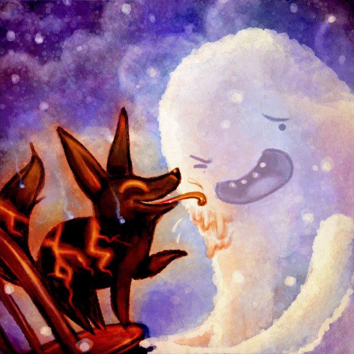Adventure Time:  Snow Golem and Fire Wolf by Sleepwalks.deviantart.com