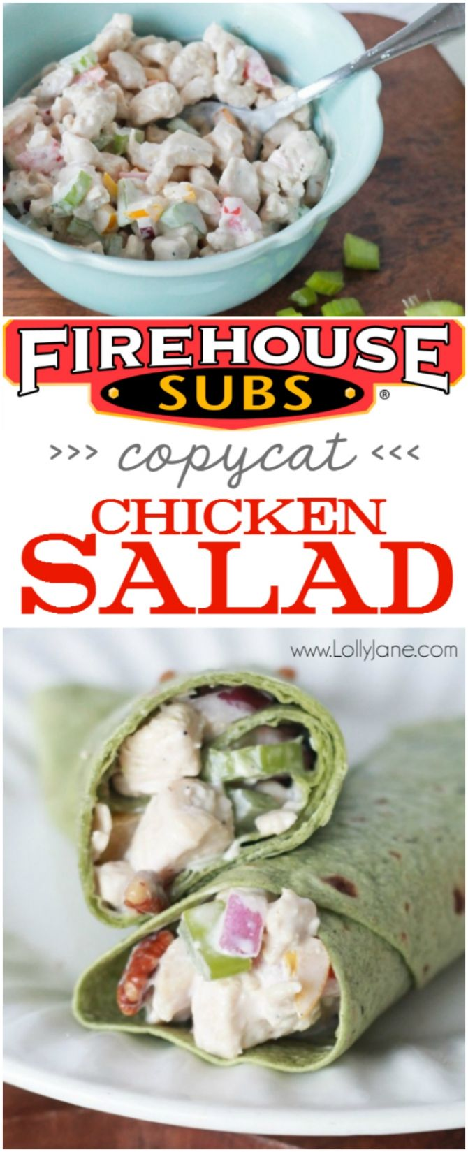 Firehouse Subs Copycat Chicken Salad, better than Mom used to make! Full of protein, veggies and low calories! Great dinner or snack recipe.