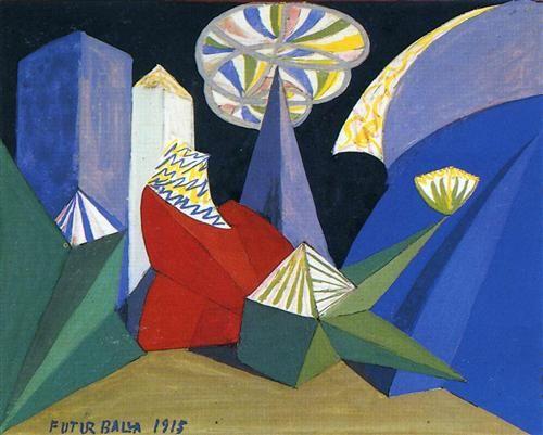 """Giacomo Balla, Sketch for the ballet """"Fireworks"""" (by Igor Stravinsky), 1915, Oil on canvas. Museo @teatroallascala, Milano #dance"""