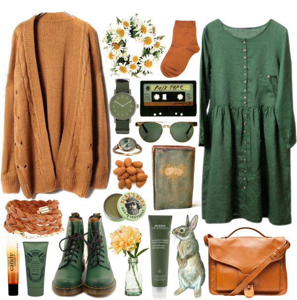 long sleeved green dress + cardi outfit