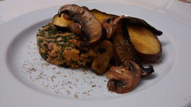 Amor e Hortelã: Cogumelos sobre Migas de Couve e Batata doce
