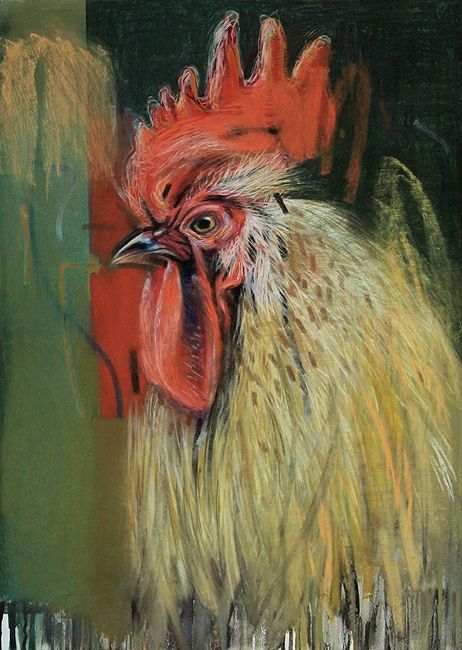 Cockerel I  2013 Pastel on paper by Tom Wood