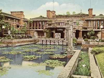 "Wright's Imperial Hotal - in Tokyo was built in the shape of an ""H"".  Floating foundations and flexible wall structure to take earthquakes. 1923 saw the Great Kanto quake and the hotel was to be opened that day, instead took in refugees.  150,000 were killed, but survivors were housed."