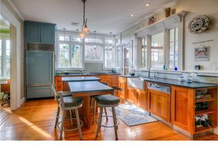 """Traditional Kitchen with Craftsman Panel Cabinet Door, 36"""" Built-In Over-and-Under Refrigerator/Freezer, Slate counters"""