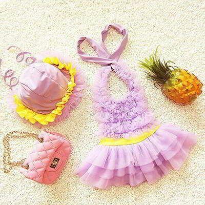 JRK Kids Child Swimwear With Hat Purple | pinknee.com