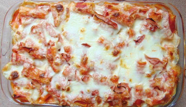 Pâtes au four, jambon, béchamel, parmesan