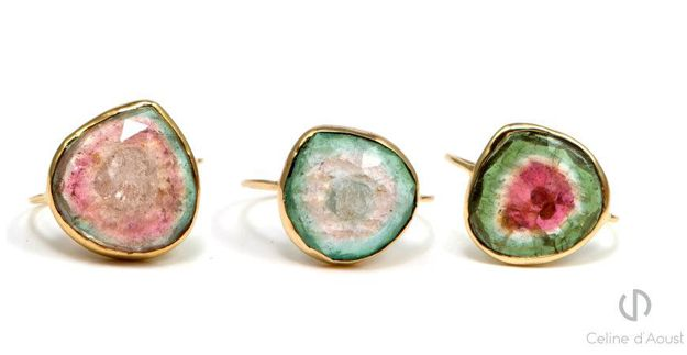 Rings with Tourmalines made by jewellery designer Celine d'Aoust. http://celinedaoust.com/